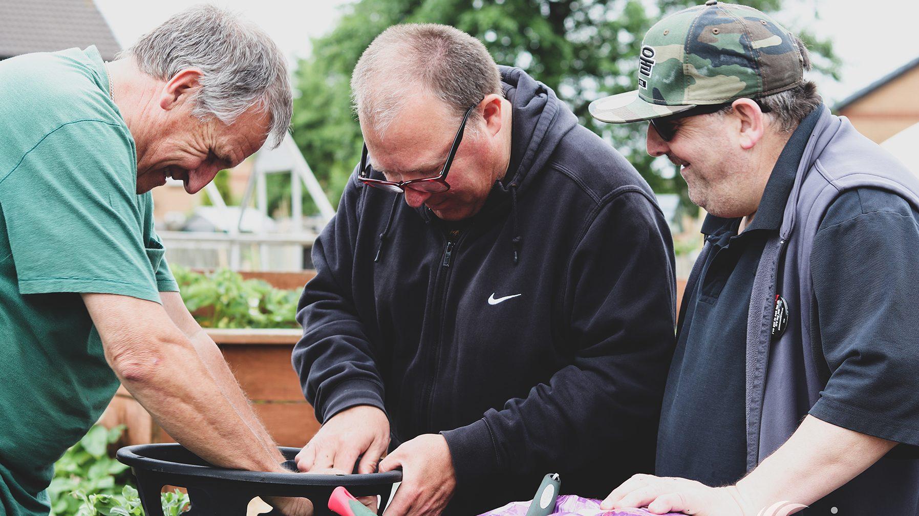 Gardening at mirus bridgend allotment