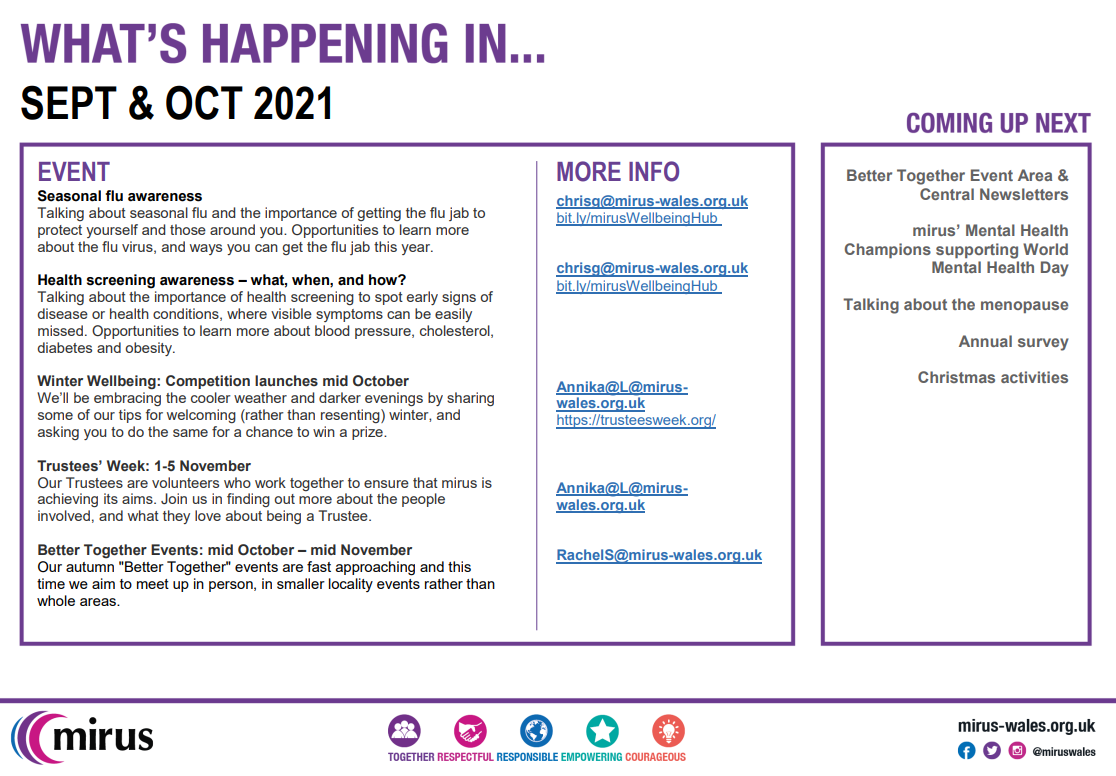 What's coming up in September and October